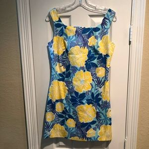 Lilly Pulitzer Yellow Hibiscus Shift Dress 8